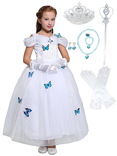 Cinderella Crystal Princess Party Costume Dress with Accessories (5-6, White Style)