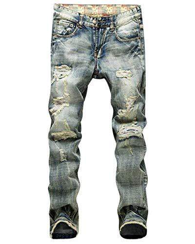 Denim Strappati Estilo Alsbild Jeans Retro Especial Pantalone Uomo Pantaloni Da Distrutti Tasca Slim Moda Fit AdYH5xq
