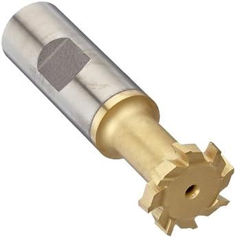 """Niagara Cutter N11021 T-Slot Shank Type Cutter, High Speed Steel, TiN Coated, Weldon Shank, 10 Helix Angle, 1-27/32"""" Cutter Diameter, 12 Tooth, 53/64"""" Width"""