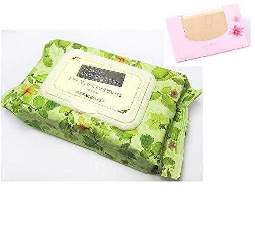 Makeup Cleansing Sheet - The Face Shop Herb Day Cleansing Tissue 70 Sheets , SoltreeBundle Natural Hemp Paper 50pcs