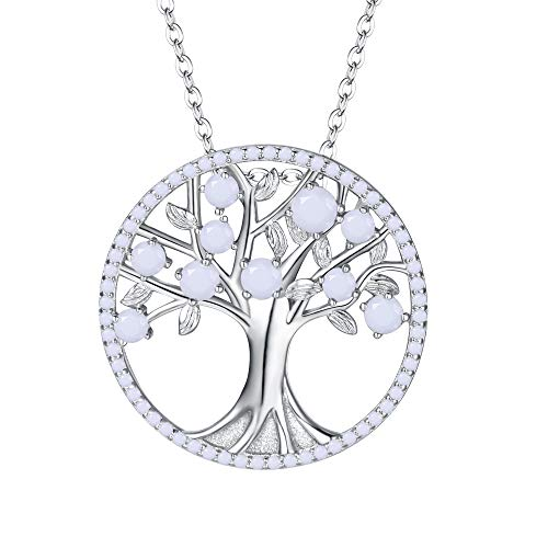 BriLove 925 Sterling Silver Necklace June Birthstone Jewelry Life of Tree CZ Pendant Necklace for Women White Pearl
