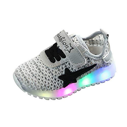 MIS1950s LED Slip on Sneakers Light Up Flashing Sneakers Girls Boys Soft Knit Breathable Walking Shoes (Toddler/Little Kid)