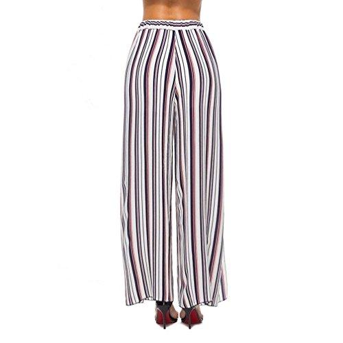 Grazioso Elegante Pantaloni Culotte Spiaggia Giovane Signore Pantaloni Yasminey Palazzo Women Chiffon Pantaloni High Spacco Light Estivi Morbidi Rosso Stripe Baggy Waist Accogliente vBqnIwBO7
