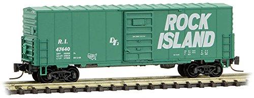 Rock Island Boxcar - Micro-Trains MTL Z-Scale 40ft Box Car Rock Island/RI (Green/White) #47440