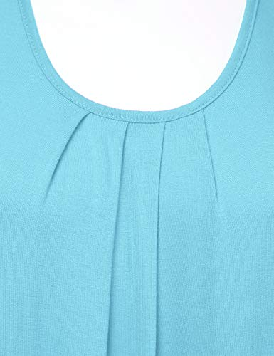 cd36f4c4074543 FLORIA Womens Round Neck Pleated Front Sleeveless Stretchy Blouse Tank Top  SkyBlue S