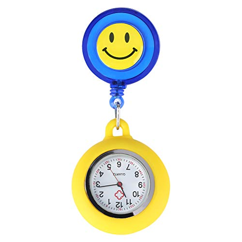 (Yellow Smiling Face Nurse Pocket Watch for Ladies, Retractable Rope with Stainless Steel Clip Quartz Pocket Watches for Nurse, Lovely Yellow Blue Collocation Pendant Watch for Doctors)