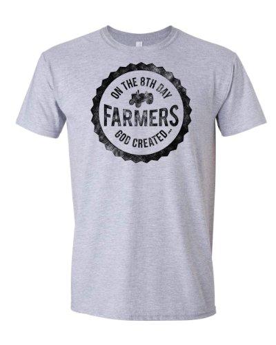 On the 8th Day God Created Farmers | God Made a Farmer Tee | Adult T-shirt (2X Large, Sports Grey)