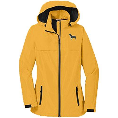 (Springer Spaniel Black Ladie's Rain Jacket)