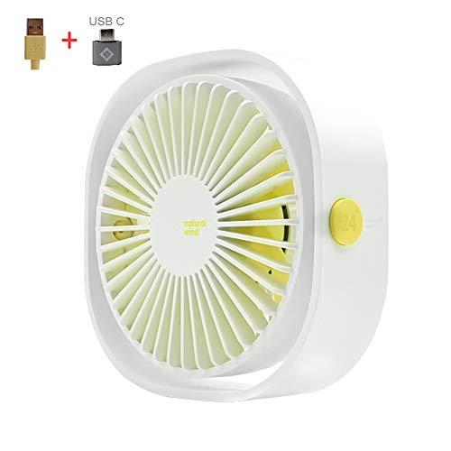 AmuseNd USB Desk Fan, USB Power Desktop Fan Ultra-Quiet Third Gear Speed 4inch Portable Mini Fan for Bedroom Office Desktop (White)