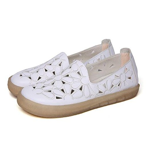 On Toe Minibee white Slip Floral Loafers New Style2 Flat Leather Shoes Round Women's wXqX0Sr