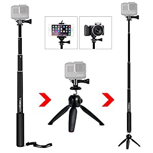 """Luxebell Selfie Stick Telescoping Pole with Tripod Stand Mount for Gopro Hero4, Hero3+ Hero3, Hero+ LCD, Session Camera and 1/4"""" Threaded Hole Compact Cameras & Cell Phones (Black w/ Tripod)"""