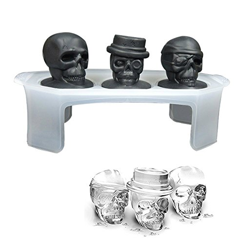 REXWAY 3D Silicone Skull Ice Mold Ice Cube Tray Large Whiskey Ice Balls (Set of 3)