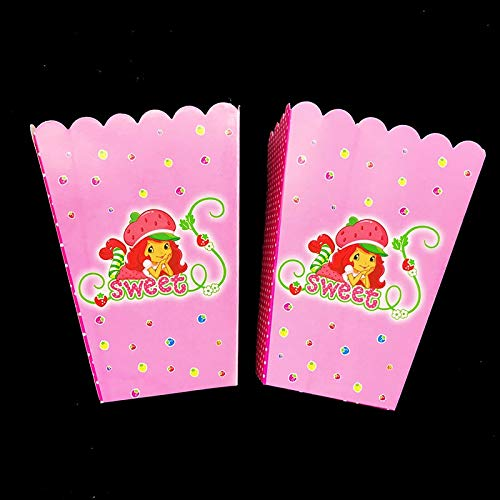 6Pcs /Lot Strawberry Shortcake Theme Popcorn Boxes Girl Birthday Party Decorations Case