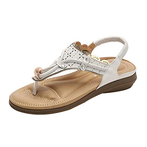 Yucode Women's Fashion T Type Summer Sandals Rhinestone Casual Beach Elastic Comfortable Sandals White 6 3/4 Inch Sexy Spike