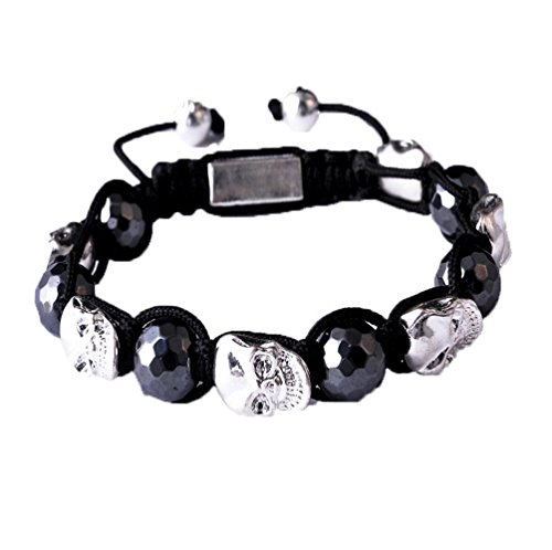 Ysiop Women Zinc Alloy Braid Wrap Bracelet Fashion Skull Beads Adjustable Bangle - Titanium Date Bracelet