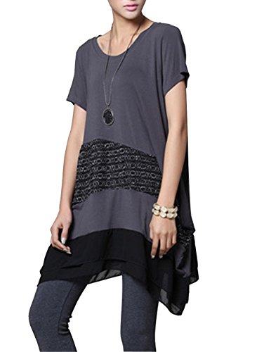 ELLAZHU Women Splice Lace Embellished Short Sleeve Shirt Dress DY10 ()