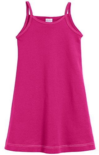 (City Threads Big Girls' Summer Dress Cami Camisole Spaghetti Strap Maxi Slip No Sleeve Dress For Sensitive Skin or SPD Sensory Friendly, Hot Pink w/ Light Pink Stitch, 8)