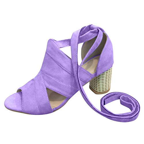 Clearance! Swiusd Women's Stiletto Comfy Hollow Lace Up Roman Sandals Retro Pointed Toe Fish Mouth Sandals Beach Dresses Shoes (Purple, 6.5 M US) ()