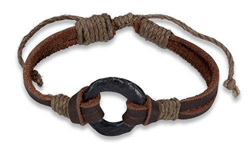 New Mens Leather (New! Circle Leather Bracelet with Twine | SPUNKYsoul Collection (1 Brown Men's))