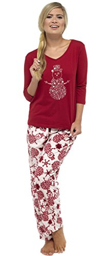 Ladies Christmas Snowman Fleece Pajama Set