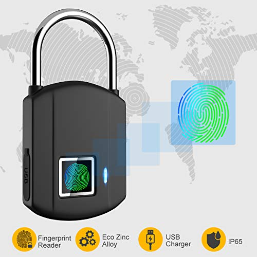 Fingerprint Padlock, IP65 Waterproof Smart keyless Biometric Digital Lock, Travel Lock, USB Recharge Security Lock for School Locker, Gym, Door, Cabinet, Suitcase, Backpack, Indoor and Outdoor ()