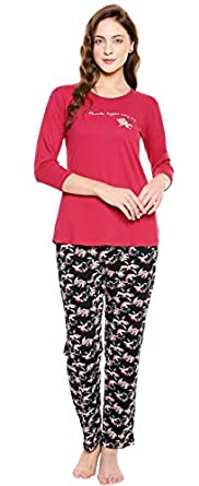 ZEYO Women's Cotton Red & Black Floral Printed Night Suit