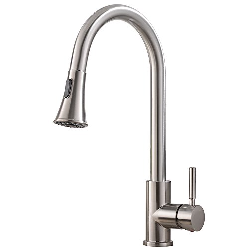 KINGO HOME Commercial High Arch Stainless Steel Single Lever Brushed Nickel Pull Down Sprayer Kitchen Faucet, Kitchen Sink Faucet with Dual Function Spout Sprayer