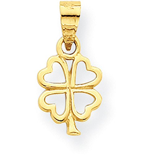 Gold 4 Leaf Clover Charm (10K Yellow Gold Four Leaf Clover Charm - (0.59 in x 0.63 in))
