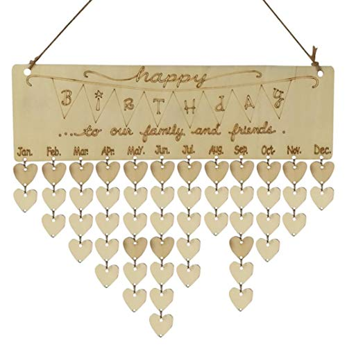 Home Décor Usstore 1PC Wooden Family Birthday Reminder Creative Calendar Decoration For Xmas Tag Bedroom living bathroom House Shop Office Windows Decor Ornament (A)