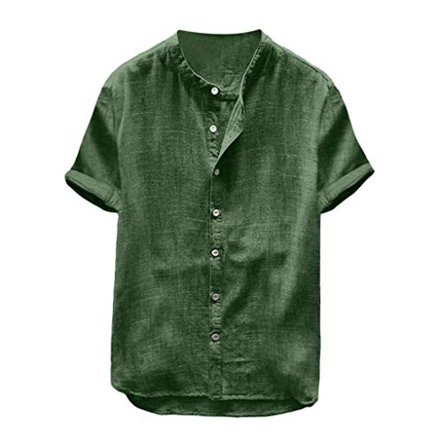 Mens Short Sleeve Henley Shirt Cotton Linen Beach Casual Loose Fit Henleys Tops Blouse Retro Solid Color Tee Green ()