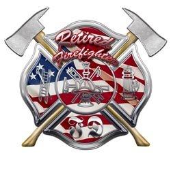 (American Flag FD Maltese Cross Retired Firefighter Decal - 2