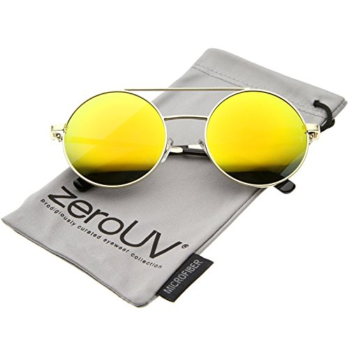 zeroUV - Lennon Full Metal Double Bridge iridescent Mirrored Lens Round Sunglasses (Gold / - Somewhere Sunday Sunglasses
