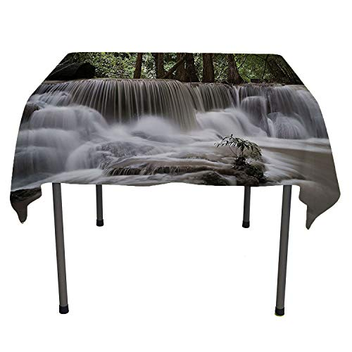 (Waterfall Decor Collection, Tablecloth For Kitchen Dining TabletopMystic Waterfall in Forest Trees Splashing Water Babbling Brook Photography, for Kitchen Dinning Tabletop Decor, 50x50 Inch White Gree)