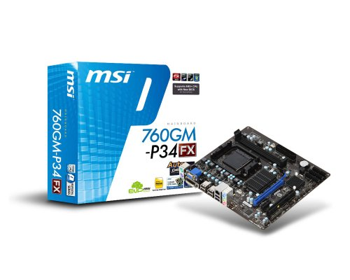 MSI Socket AM3+/ AMD 760G/ DDR3/ Hybrid CrossFireX/ A and GbE/ MicroATX Motherboard 760GM-P34 (FX)