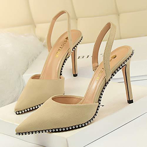 Yukun zapatos de tacón alto Otoño Remache Metal con Cuentas Tacones Altos Ins Estilete con Mujer Negro Apricot