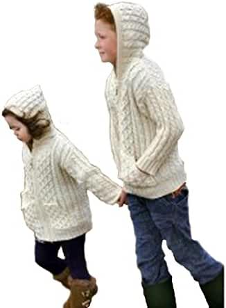 100% Merino Wool Aran Crafts Childrens Hooded Zip Cardigan with Pockets Ecru