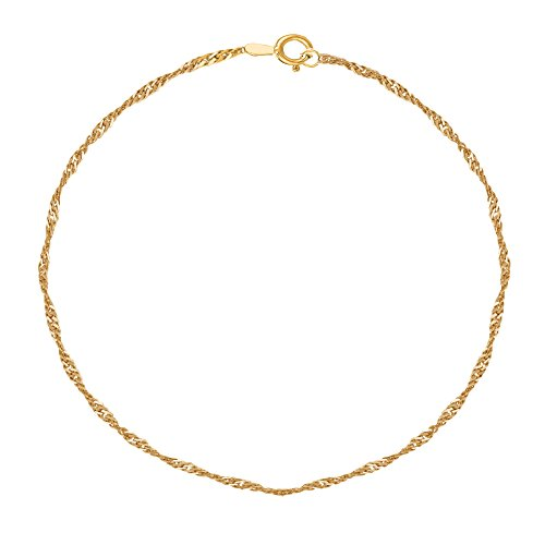 Ritastephens 10K Yellow Gold Singapore Ankle Anklet Foot Chian 10 inches 1.5 Mm