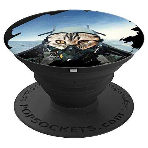 Cat Pilot in Fighting Jet - cute Kitty Pilot Gift PopSockets Grip and Stand for Phones and Tablets