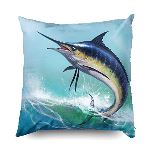 (Aquatic 18x18 Pillow Cases,Decorative Throw Pillow Covers,TOMWISH Colorful Zippered Decorative Throw Cotton Pillow Case Cushion Cover for Home Decor marlin blue fish sailfish swordfish fishing ocean s)