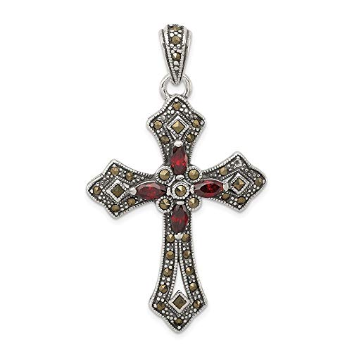 (Jewelry Stores Network Red CZ and Marcasite Cross Pendant in 925 Sterling Silver 53x31mm)