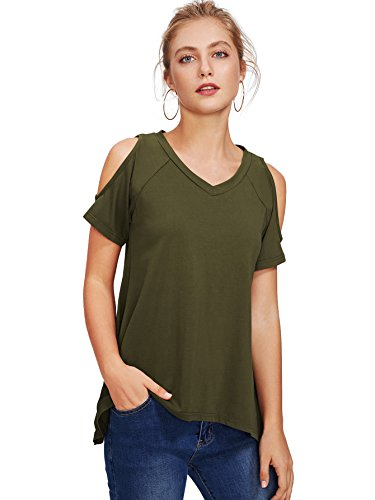 WDIRARA Women's Cutout Raglan Sleeve Cold Shoulder Hanky Hem Tee Shirt Top Green S ()