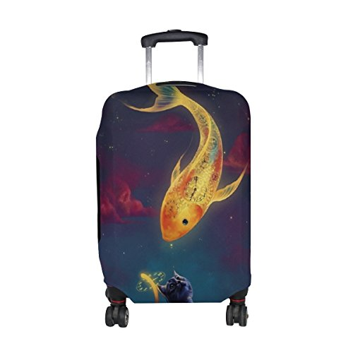 Jennifer Clock Golden Fish Cat Travel Luggage Covers Suitcase Protector Fits 22-24 (Jennifer Clock)