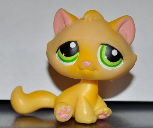 Kitten #94 (Cat, Sitting, Orange, Green Eyes, No White Paint on Paws) Littlest Pet Shop 2004 (Retired) Collector Toy - LPS Collectible Replacement Single Figure Loose (OOP Out of Package) ()