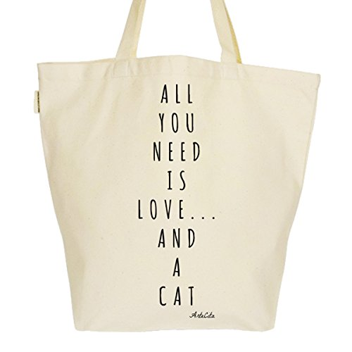 Grand Sac Cabas Fourre-tout Imprimé Toile Bio 37x45x20cm Tote Bag XL - All you need is love and a cat