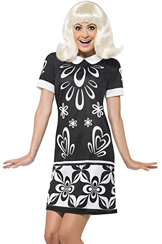 Smiffy's Women's Monochrome Missy Costume and Shift Dress, Black/White, Medium -