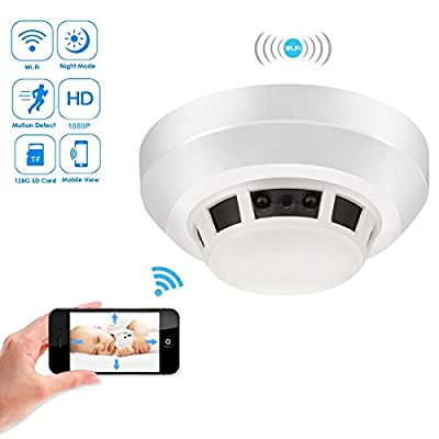 Heymoko Wi-Fi Smoke Detector Camera Motion Detection Night Vision 1080P Wireless IP Indoor Baby Pet Monitor Remote Real Time Video Free App View Nanny Cam Home Security Camera SD Card Storage to 128GB