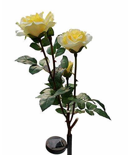 De-Spark 3 LED Solar Rose Flowers Garden Lights Outdoor Waterproof Wireless Decorative Night Lamp (Yellow) by YQL