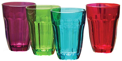 Circleware Heavy Base Colored Juice Drinking Glasses, Set of 4, Kitchen Entertainment Dinnerware Ice Tea Beverage Cups Glassware for Water, Milk, Beer, Whiskey and Bar Decor, 7.75 oz, Overture