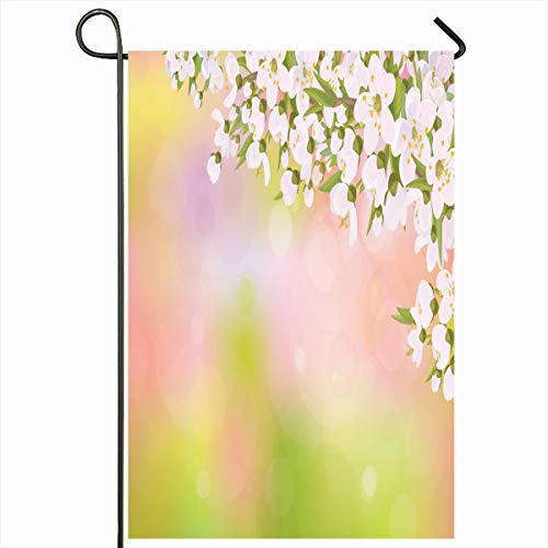 (Ahawoso Outdoor Garden Flag 12x18 Inches Closeup Easter Pink April Blossoming Branches Cherry Tree Border Apple Spring Green Bokeh Apricot Home Decor Seasonal Double Sides House Yard Sign Banner)