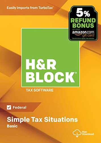 H&R Block Tax Software Basic 2018 with 5% Refund Bonus Offer [Amazon Exclusive] [Mac Download]